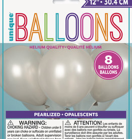 """12"""" Latex Pearlized Balloons 8ct - Silver"""