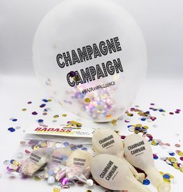 """Badass Balloons """"Champagne Campaign"""" 12"""" Clear with Confetti Latex Singles"""