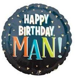 "Happy Birthday Man! Foil Balloon 18"""