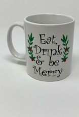 "Hand Made ""Eat. Drink and be Merry"" Porcelain Custom Mug"