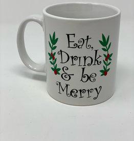 """Eat. Drink and be Merry"" Porcelain Custom Mug"