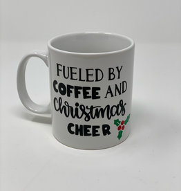 "Hand Made ""Fueled By Coffee and Christmas"" Porcelain Custom Mug"