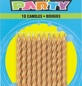 Gold Spiral Birthday Candles 10ct