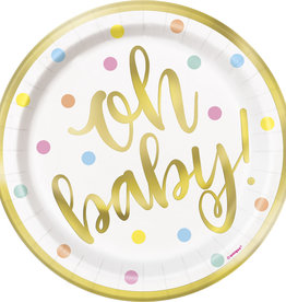 """Oh Baby!"" Gold Dessert Plate 8ct"