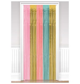 Pastel & Gold Fringe Doorway Curtain 3FT x 8FT