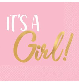 'It's a Girl!' Pink and Gold Foil Stamped Beverage Napkins 16ct