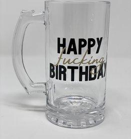 Hand Made 'Happy fucking Birthday' Custom Beer Glass