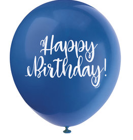 "'Happy Birthday!' Script Royal Blue 12"" Latex Singles"