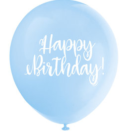"'Happy Birthday!' Script Baby Blue 12"" Latex Singles"