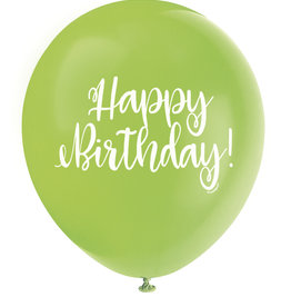 "'Happy Birthday!' Script Lime Green 12"" Latex Singles"