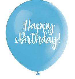 "'Happy Birthday!' Script Teal 12"" Latex Singles"
