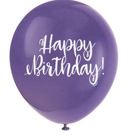 "'Happy Birthday!' Script Deep Purple 12"" Latex Singles"