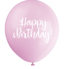 "'Happy Birthday!' Script Pink 12"" Latex Singles"