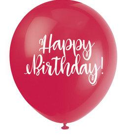 "Happy Birthday!' Script Red 12"" Latex Singles"
