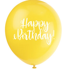 "'Happy Birthday!' Script Yellow 12"" Latex Singles"