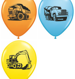 "Construction Trucks 12"" Printed Latex Singles"