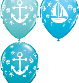 "Nautical Sailboat and Anchor 12"" Latex Singles"