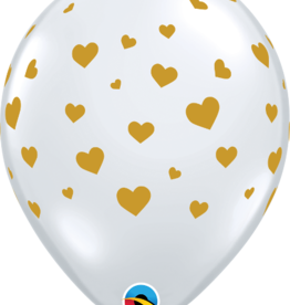 "Diamond Clear Printed with Gold Hearts 12"" Latex Singles"