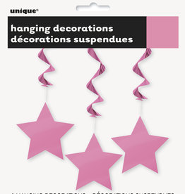 Hot Pink Star Hanging Decorations 3ct