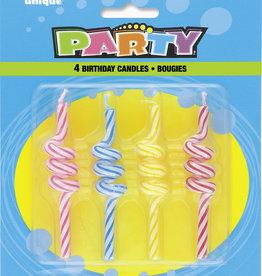Strip Coil Swirl Wax Candles 4ct