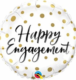Gold Dot Happy Engagement Foil Balloon 18""