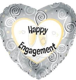 Happy Engagement Glass Clink Heart Foil Balloon 18""