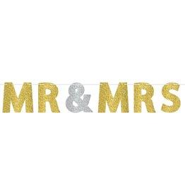 Mr and Mrs Gold Glitter Banner 12FT