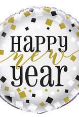 "Black Gold Sliver New Year Mylar Balloon 18"""