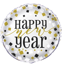 Black Gold Sliver New Year Mylar Balloon 18""