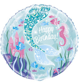 "Mermaid Happy Birthday 18"" Mylar"