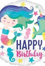 """Happy Birthday Mermaid & Narwhal 18"""" Mylar"""