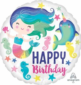 "Happy Birthday Mermaid & Narwhal 18"" Mylar"