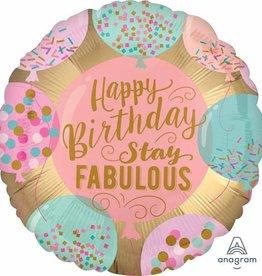 """'Happy Birthday Stay Fabulous' 18"""" Mylar"""