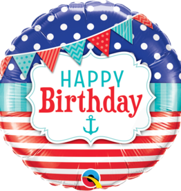 Nautical Happy Birthday Foil Balloon 18""