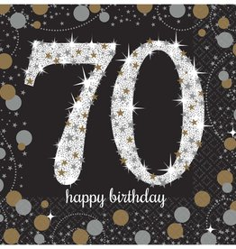 70th Birthday Black and Gold Beverage Napkins