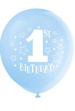 "'1st Birthday!' Blue 12"" Latex Balloons 8ct"