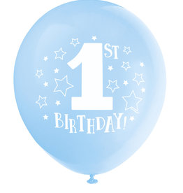 "'1st Birthday!' Blue 12"" Latex Balloons 8ct"