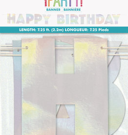Happy Birthday Iridescent Foil 7.25 ft Banner