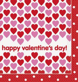 'Happy Valentines' Luncheon Napkins 16ct