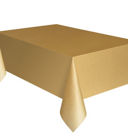 "Gold Plastic Rectangle Tablecloth, 54"" x 108"""