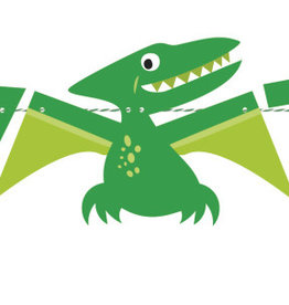 'Party Time!' Dinosaur Blue and Green Banner 5FT