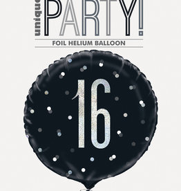Black and Silver 16th Birthday Mylar Balloon 18""