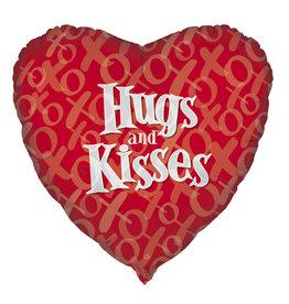 "'Hugs And Kisses' 18"" Mylar Balloon"