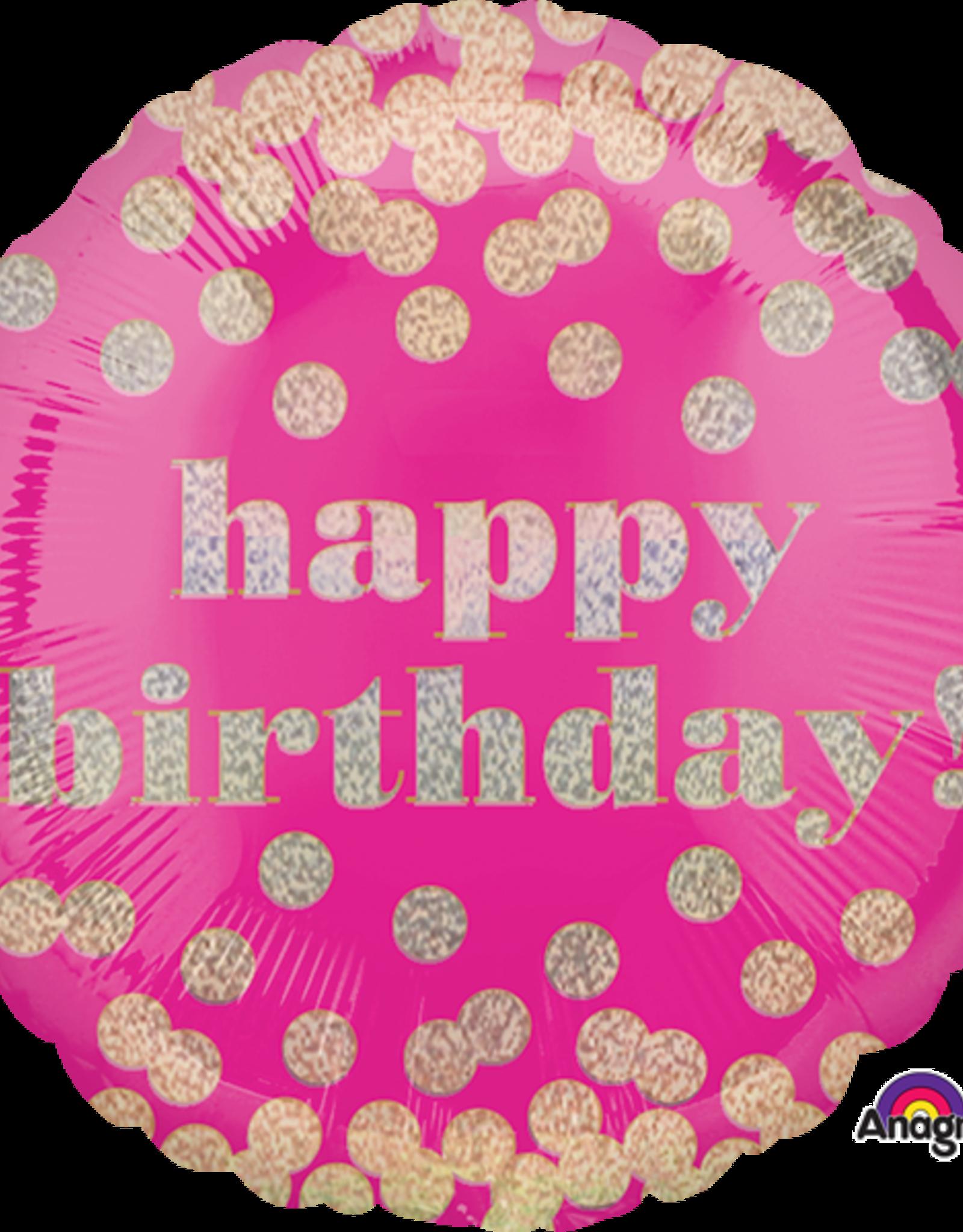 "'Happy Birthday!' Pink Confetti Gold Dots Foil Balloon 18"""