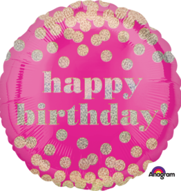 'Happy Birthday!' Pink Confetti Gold Dots Foil Balloon 18""