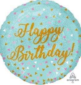 """Teal Confetti 'Happy Birthday' 18"""" Mylar"""
