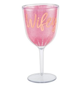 "Rose Gold ""Wifey"" and Glittery Pink Plastic Wine Glass,"