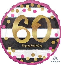 "Pink and Gold 60th 18"" Foil Balloon"