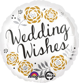 "White, Silver and Gold 'Wedding Wishes' 18"" Mylar"