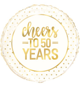 Gold Cheers to 50 Years Foil Balloon 18""